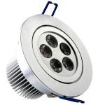 Spot LED 5x1W Rotund Mobil Argintiu 220V