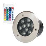 Spot LED Exterior Incastrabil 9x1W Rotund RGB Telecomanda 220V