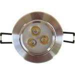 Spot LED 3x1W Rotund Mobil Argintiu 220V
